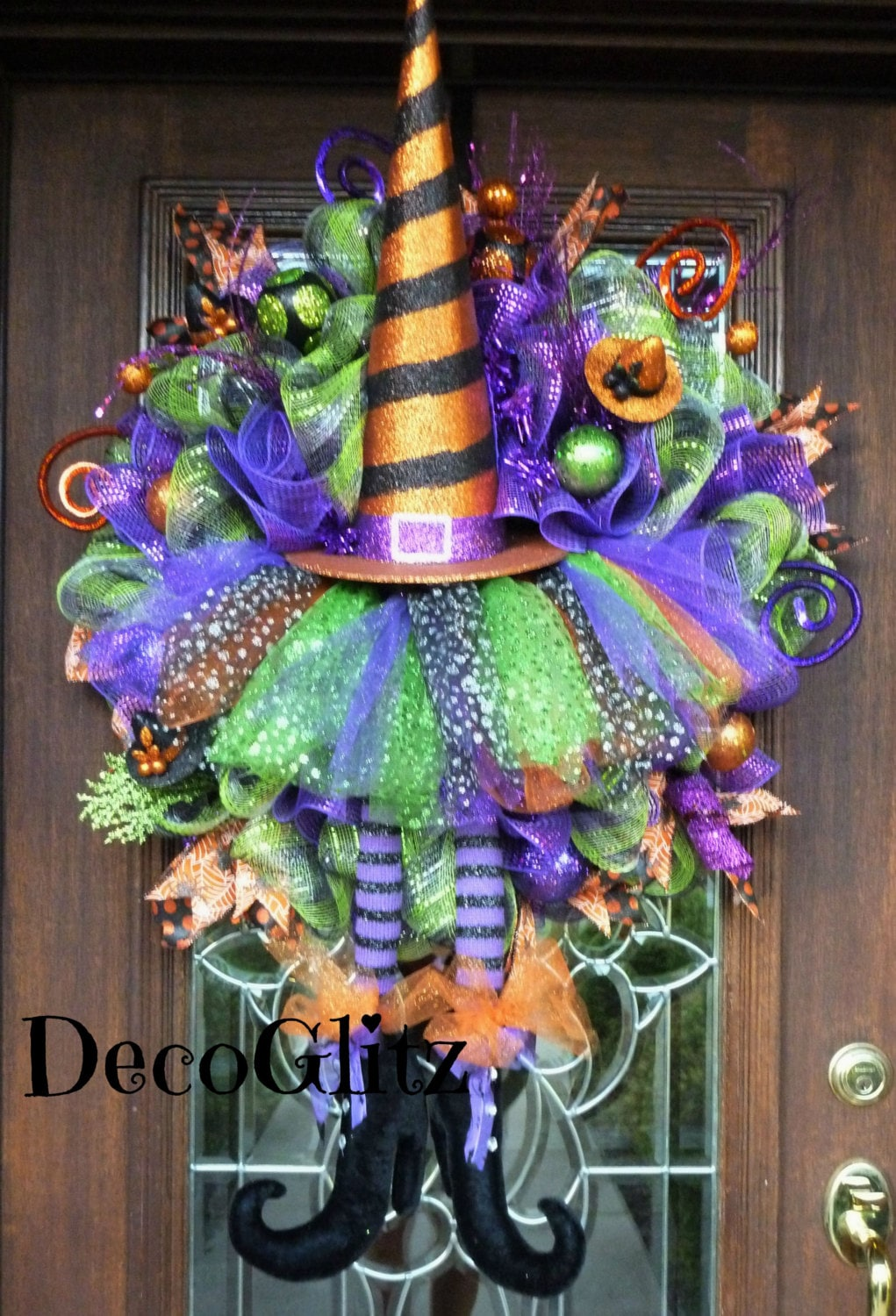 whimsical halloween witch hat and tutu wreath with cute witch. Black Bedroom Furniture Sets. Home Design Ideas