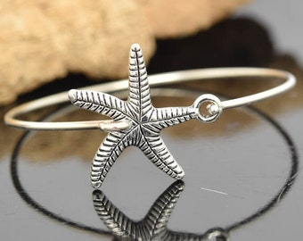 Starfish Bangle, Sterling Silver Bangle, Starfish Bracelet, Stackable Bangle, Bridesmaid Bangle, Bridesmaid jewelry, Bridal Bracelet