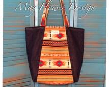 Large Denim Tote Bag / Market Bag /Aztec Tribal Tote