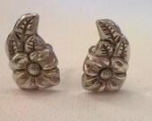 Vintage Sterling Silver Earrings - Floral Flower and Leaves Design - Screwback Earrings
