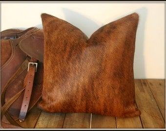 Brazilian Cowhide Pillow Cover 20x20 inches / Brown Brindle Hair-on-Cowhide Pillow Cover / Handmade
