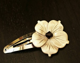 CLEARANCE !!! Tahitian Taupe / Mocca Mother of Pearl Flower Barrette