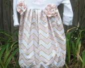 Pink And Gold Chevron Layette Gown  ,Take home outfit - Newborn  layette , Personalized-