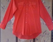 70s /80s Bright red Western shirt