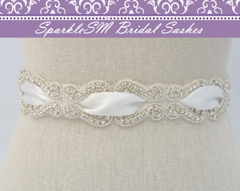 Crystal Dress Sash, Bridal Belt, Bridal Sash, Rhinestone Sash, Rhinestone Belt, Beaded Bridal Belt, Wedding Sash, Wedding Belt, Satin Sash