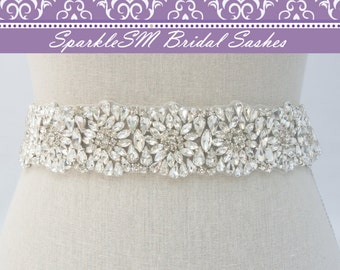 Rhinestone Belt, Jeweled Bridal Sash, Bridal Sash, Bridal Belt, Crystal Belt Sash, Beaded Bridal Belt, Wedding Dress Sash, Jeweled Sash