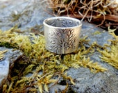Tree of Life Ring - Woodland Ring - Artisan Handcrafted with Recycled Fine Silver - Double Sided Ring - Forest Ring- Silvan Arts- Elven