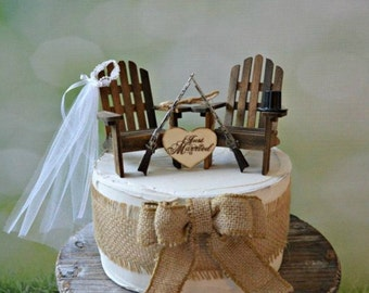 Gun Wedding Chairs Lake Camping Hunting Themed Cake Topper Deer Hunter Shot Riffle Bride