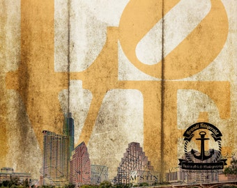 Austin Skyline Texas Love and Vintage Map Wall Decor At Checkout, Choose Lustre Print or Gallery Wrapped Canvas