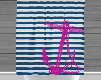 Shower Curtain: Pink Anchor and Navy Stripes   Made in the USA   12 Hole Fabric Bathroom Decor