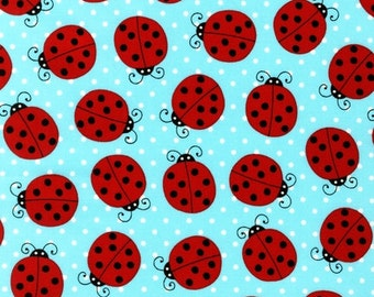 Fat Quarter ONLY - Ladybugs on Blue From Robert Kaufman