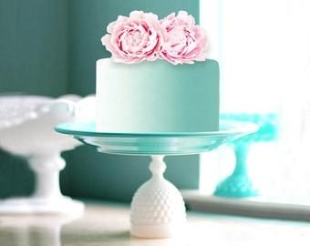 Aqua Cake Stand with Mint Cake and Pink Peony / Hobnail Milk Glass & Ceramic Cake Pedestal / Aqua Dessert Pedestal for Aqua Weddings