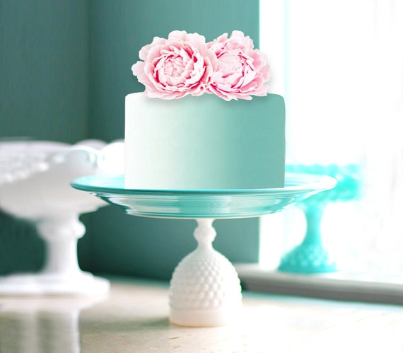 Aqua Cake Stand with Mint Cake and Pink Peony / Hobnail Milk