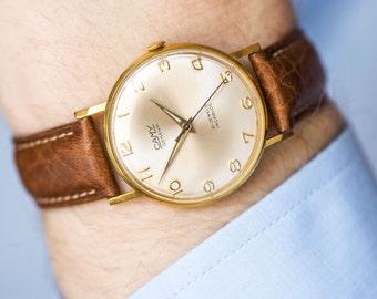 Classic Camy Geneve men's watch, gold plated Swiss watch, gent's dress watch Swiss, shockproof watch him, premium leather strap new