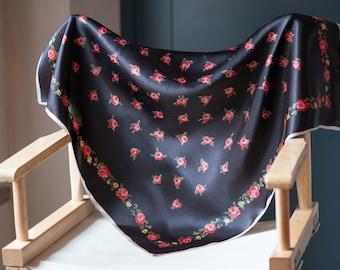 Black Red Roses Scarf, Retro Fashion Neck Scarf, Kerchief Scarf Accessory, Ladies Head Wrap Scarf