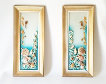 Vintage Pair Bookend Gold Framed Painted Glass Seashell Art. Midcentury Framed Glass Decor Seashells Seahorses Beach House Coastal Decor