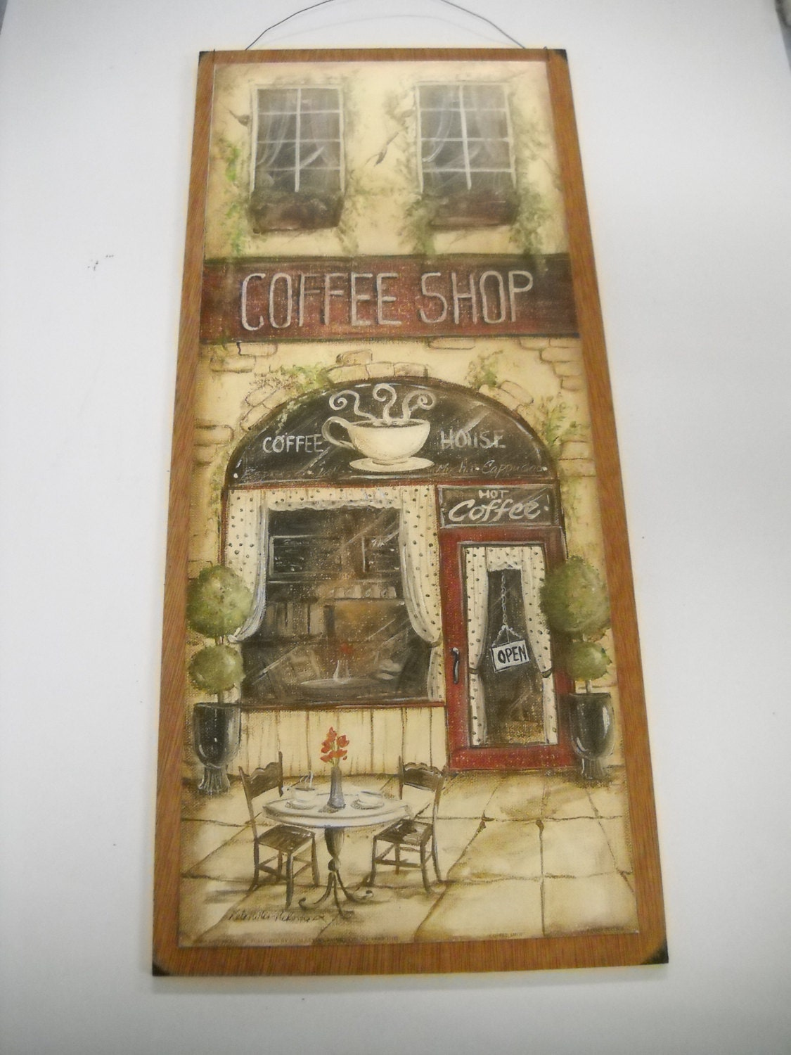 Wooden Kitchen Wall Decor : Cafe coffee kitchen wooden wall art by