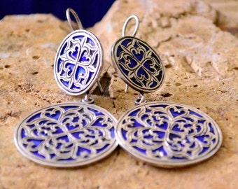 Ethnic Berber Enamel Sterling Silver Earrings, Very Modern Design in a Traditional Style