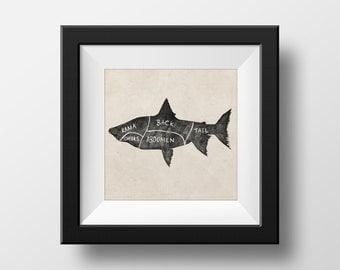Butchers Fish Chart illustration giclée Print