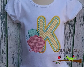 Sea Shell Initial Ruffle Top Sizes 2T-5T, 6-8