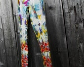 A Wild Pair of Hand Dyed Size Medium Cotton Leggings Stretchy Pants