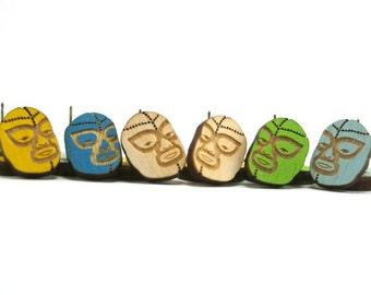 Luchador Mask Earrings - Handmade - Laser Cut Jewelry - Laser Cut