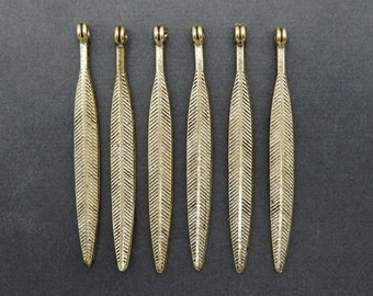 Brass Feather Pendant Charm (S4B3-10) Buy 1,, 3, 5, or 10