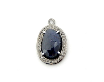 Petite Oval Sapphire Cabochon Pendant in a Oxidized Sterling Silver with Pave DIAMOND Bezel-- (EX21-25)