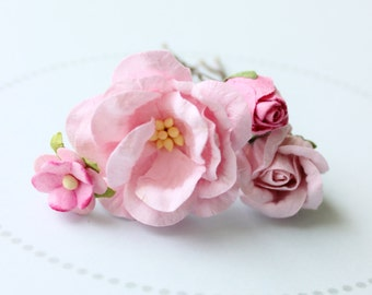WILD ROSE . pale pink flower hair pins . cottage chic paper blossoms