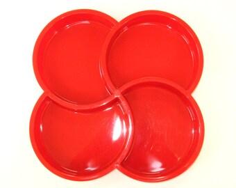 Dansk Denmark Gunnar Cyren Red Swirl Divided Plastic Snack Tray - Mid Century Modern 4 Section Melamine Server 2 Available