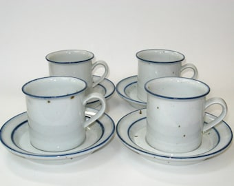 Dansk BLUE MIST Coffee Mug / Tea Cup & Saucer Set of 4 - Denmark Niels Refsgaard