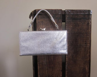 Box Purse / 1960s / Silver Evening Bag / Mad Men / Wedding Purse / Go Go / Jackie Kennedy