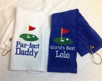 Golf towel, golf, personalized golf, personalized, golf gift, personalized towels, golf accessories, embroidered, dad gift, golf towels
