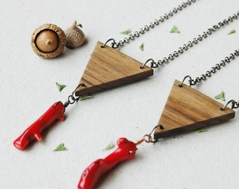 Simple wood necklace, long triangle necklace with coral, natural wood