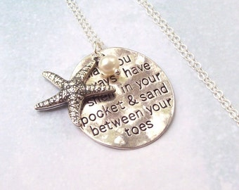 Starfish Necklace, Tropical Necklace, beach jewelry, beach blessing, sterling silver, charm necklace, florida