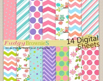 ON SALE Pink Blue Owl Digital Paper Set- Baby Color Paper Background,Pink Blue Chevron Stripe Polka dot Paper Background,Size 12x12 No.210/2