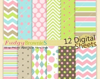 ON SALE Digital paper pack 7.5x11, Tea party , girls, baby digital background,No.144 printable background,blue, green, pink, Instant downloa