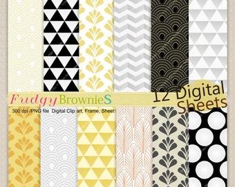 ON SALE Digital paper pack 12x12, gatsby digital background , No.195-2 printable background, art deco ,instant download paper