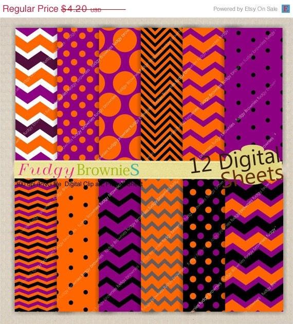 ON SALE Halloween Digital paper background , 7.5x11, Halloween scrapbook paper , No. 97,orange, purple, black  digital paper ,  Instant down