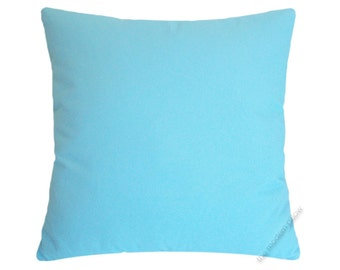 Sky Blue Solid Decorative Throw Pillow Cover / Pillow Case / Cushion Cover / Cotton / 18x18""