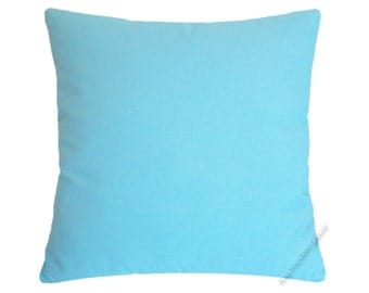 Sky Blue Solid Decorative Throw Pillow Cover / Pillow Case / Cushion Cover / Cotton / 20x20""