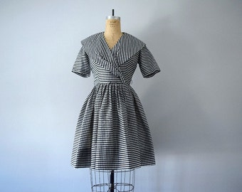 50% SALE . Vintage gingham dress . 50s 60s black and white dress