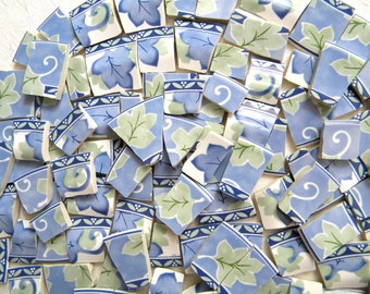 SALE - Mosaic China Tiles - LEAVES - Pfaltzgraff Recycled Plates - 100 Tiles
