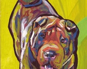 Shar pei Dog art print of pop art painting by LEA bright colors 8x8""