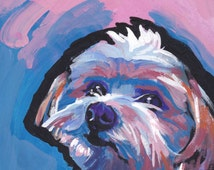 "Morkie maltese yorkie portrait art print of pop dog painting bright colors 8x8""  LEA"