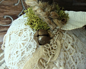 Vintage Lace Tattered Pumpkin with Moss and Rusty Bell