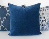 Indigo Blue velvet decorative pillow cover, accent pillow, solid navy velvet throw pillow