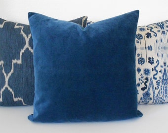 Indigo Blue velvet decorative pillow cover, accent pillow, solid navy velvet throw pillow