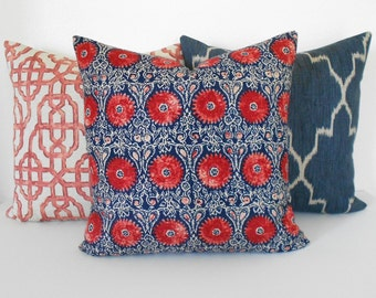 Navy and red medallion floral decorative throw pillow cover, indigo suzani pillow cover