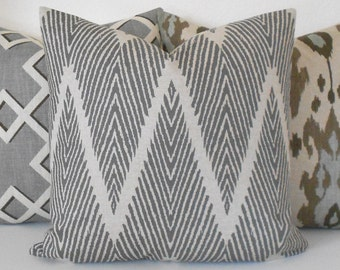 Double sided Gray and Tan chevron ikat decorative throw pillow cover